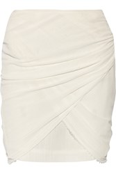 Isabel Marant Gray Ruched Cotton Gauze Mini Skirt White
