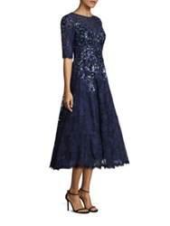 Rickie Freeman For Teri Jon Embroidered Lace Dress Navy