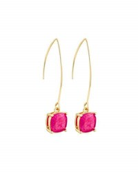 Lydell Nyc Crackled Crystal Threader Earrings Dark Pink