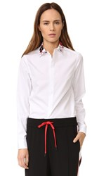 Kenzo Embroidered Collar Button Down White