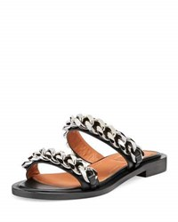 Givenchy Double Chain Flat Sandal Black