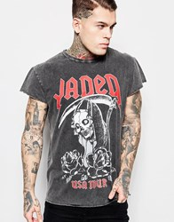 Jaded London Longline T Shirt With Tour Print Black