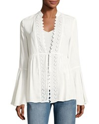Free Generation Lace Inset Tie Front Blouse Ivory