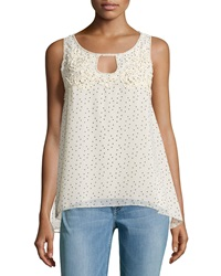 Max Studio Polka Dot Keyhole Sleeveless Blouse Beige Black