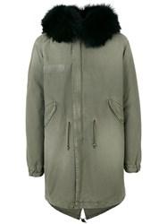 Mr And Mrs Italy Lined Parka Coat Men Cotton Lamb Skin Polyester Viscose Xl Green