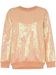 Ashish Sequin Rear Zip Cotton Blend Sweatshirt Neutrals