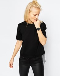Asos T Shirt With Sheer Panel Black