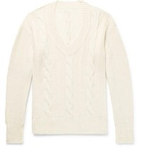 Anderson And Sheppard Cable Knit Wool Sweater Cream