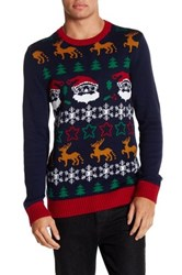Ugly Christmas Sweater Fair Isle Santa Knit Blue