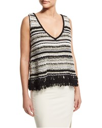 Elizabeth And James Linear Sleeveless Fringe A Line Top Black Optic White Size Small