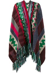 Etro Wool Blend Patchwork Tassel Poncho Green