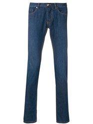 Brioni Slim Fit Low Rise Jeans Blue