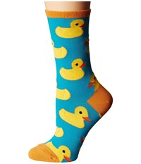 Socksmith Rubber Ducky Turquoise Women's Crew Cut Socks Shoes Blue