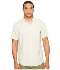 Huf Course Short Sleeve Chambray Shirt Natural Men's Clothing Beige