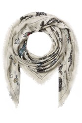 Alexander Mcqueen Jeweled Skull Print Scarf With Silk Grey