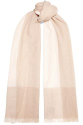 Loro Piana Stola Fringed Color Block Cashmere Scarf Neutral