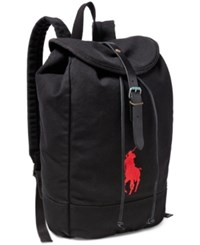 Polo Ralph Lauren Men's Big Pony Canvas Backpack Black Red