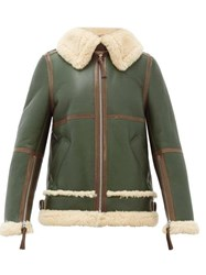 Acne Studios Shearling Leather Aviator Jacket Khaki