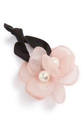 Cara Flower And Imitation Pearl Ponytail Holder Pink