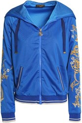 Roberto Cavalli Embroidered Shell Hooded Jacket Blue