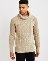 Only And Sons Mens Knitted Pullover Cable Knit Jumper Cream