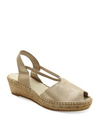Andre Assous Dainty Fabric Espadrille Wedge Sandals Platino