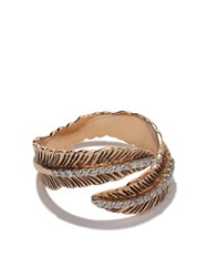 Kismet By Milka 14Kt Rose Gold Double Row Feather Diamond Pinky Ring