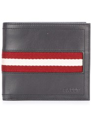 Bally Striped Detailing Flat Wallet Grey