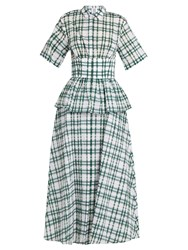 Rosie Assoulin Boogie Woogie Checked Seersucker Dress Green Print