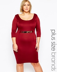 Goddiva Plus Size Midi Dress With Gold Belt Wine