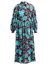 Valentino Tapestry Print Silk Crepe Dress Burgundy Multi