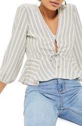 Topshop Betty Stripe Ruched Keyhole Blouse Grey