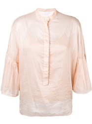Genny Ruffle Sleeve Blouse Nude And Neutrals