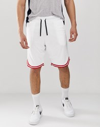 Good For Nothing Long Shorts In White With Red Taping