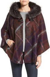 Hiso Women's Genuine Fox Fur Trim Hooded Plaid Cape