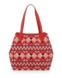 Isabella Fiore Aurora Embroidered Tote Bag Blood Orange