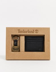 Timberland Card Holder And Keyring Gift Set In Black