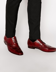Aldo Trass Leather Brogue Shoes Red