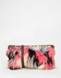 French Connection Statement Faux Fur Clutch Bag Multi