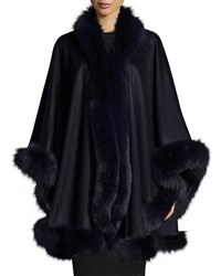 Sofia Cashmere Fox Fur Trim Cashmere Cape Navy