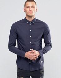 Blend Of America Slim Butondown Shirt Microdot Navy Navy