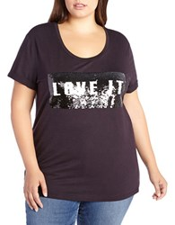 Addition Elle Love And Legend Plus Two Way Sequin Tee Black