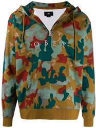 Obey Camouflage Logo Hoodie Green