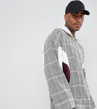Add Oversized Overhead Jacket In Check With Half Zip Brown
