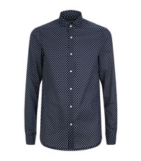 Michael Kors Polka Dot Print Long Sleeve Shirt Male Navy
