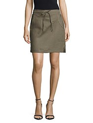 Saks Fifth Avenue Drawstring Waist Linen Skirt Ocean Sand