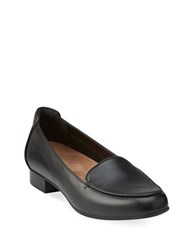 Clarks Keesha Leather Slip On Loafers Black