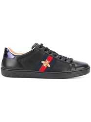 Gucci Bee Embroidered Low Top Trainers Black