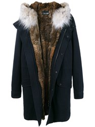 Yves Salomon Fur Hooded Parka Blue