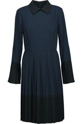 Mikael Aghal Two Tone Pleated Crepe De Chine Mini Dress Midnight Blue